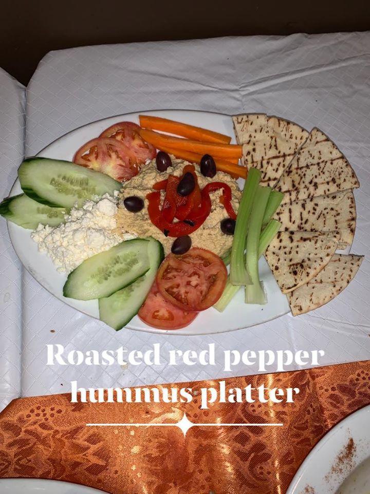 Roasted Red Pepper Hummus Platter