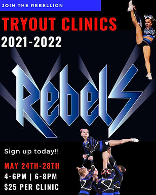 US Rebels cheer team tryout clinics 2021