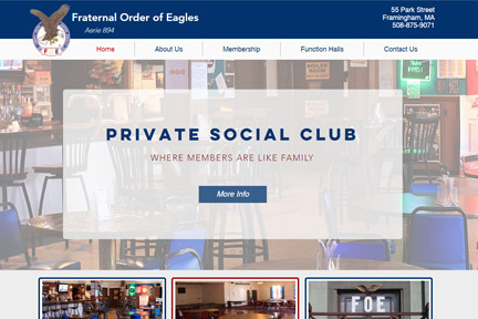 New website for the Framingham Eagles Club designed by Blue Heron