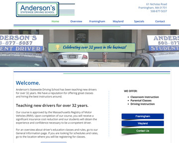 Blue Heron launches new design for Anderson's Driving School website