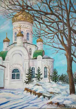 Никольский храм. Шмаковка 30х40 х.м. 2016