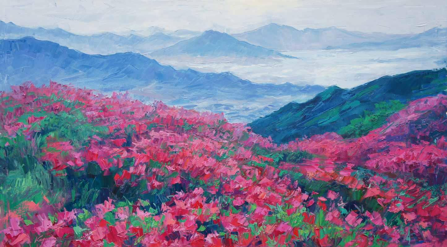 Цветущие горы 125х70 х.м. 2017