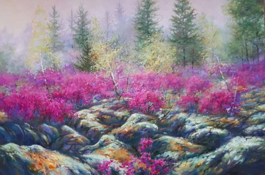 Цветущий багульник х.м. 60х90