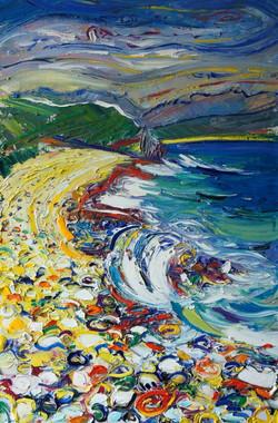 Каменный пляж . 75х50 холст. масло 2012
