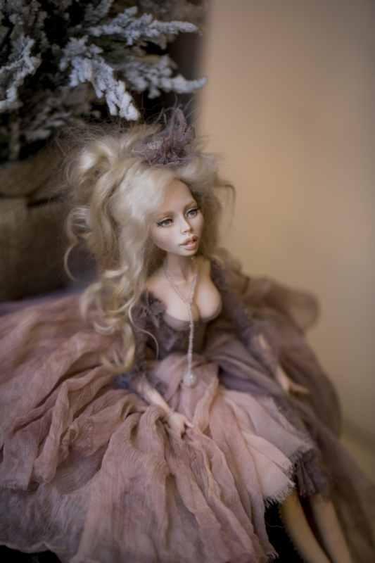 кукла ОЛана Полимерная глина, шёлк, шерсть 2018 г (5)