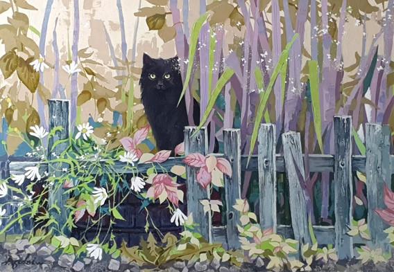 Чёрная кошка, белый кот 70х100 х, акр.
