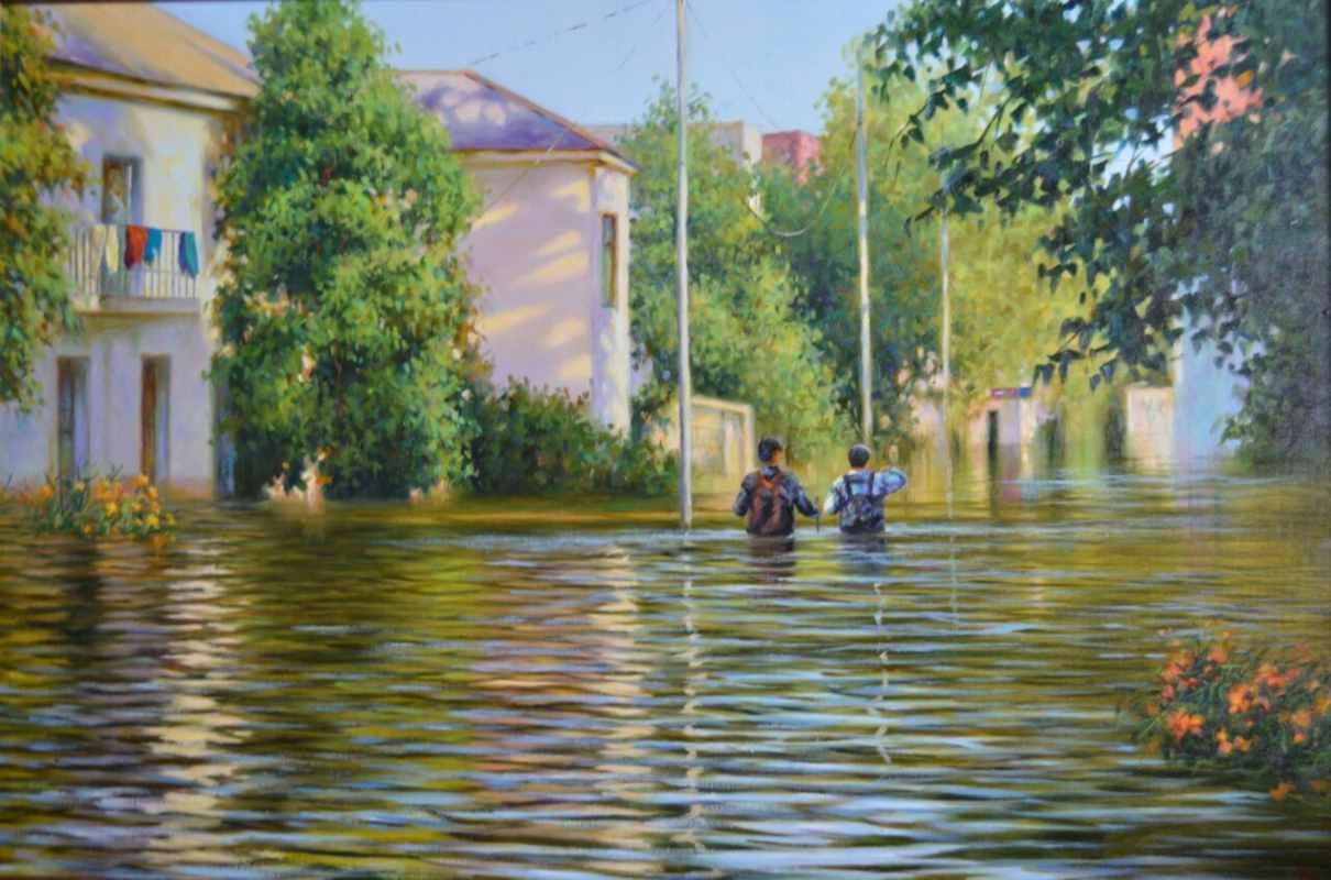 Наводнение в Хабаровске 2014 г. Холст, масло  60х90 см