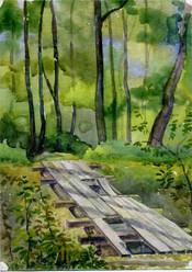 Старый мостик. бум., акв. 1999