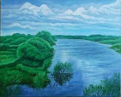 Залив реки Тунгуска. Большая вода. х.м.
