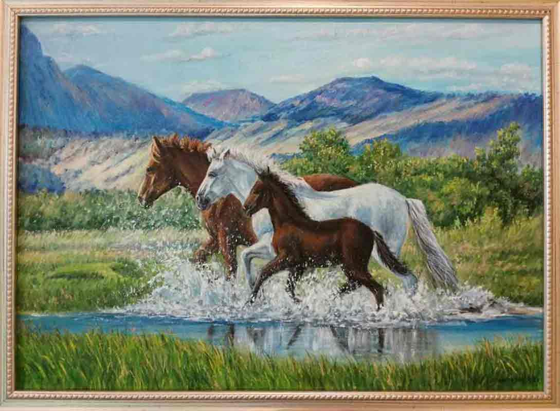 Бегущие лошадки 35х50 х.м. 2016