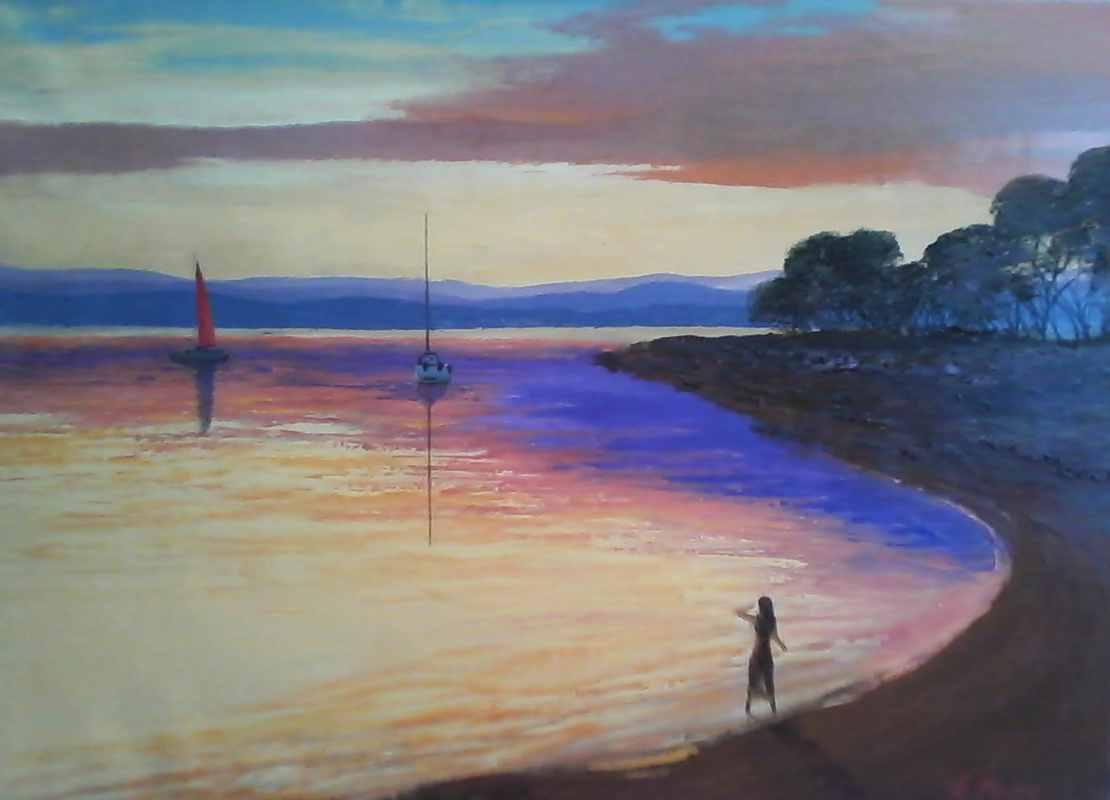 Закат на берегу х.м. 50х70