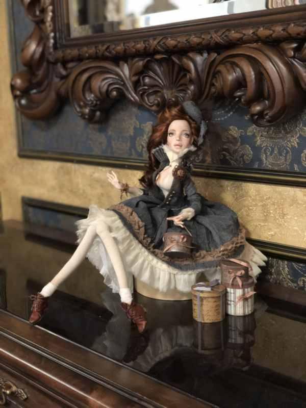 Мишель Полимерная глина, шерсть, шифон, декоративные элементы 2018 (4)