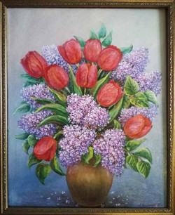 Сирень и тюльпаны 40х50 х.м.