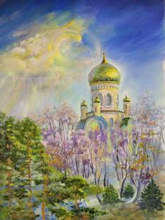Свято-Троицкий храм. Шмаковка. 50х70 х.м. 2019