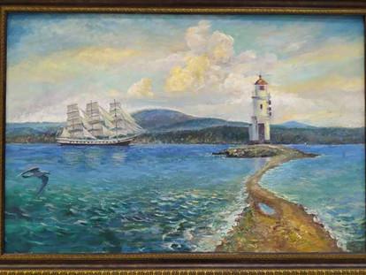 Вид на маяк. Владивосток. 60х90 х.м. 2017