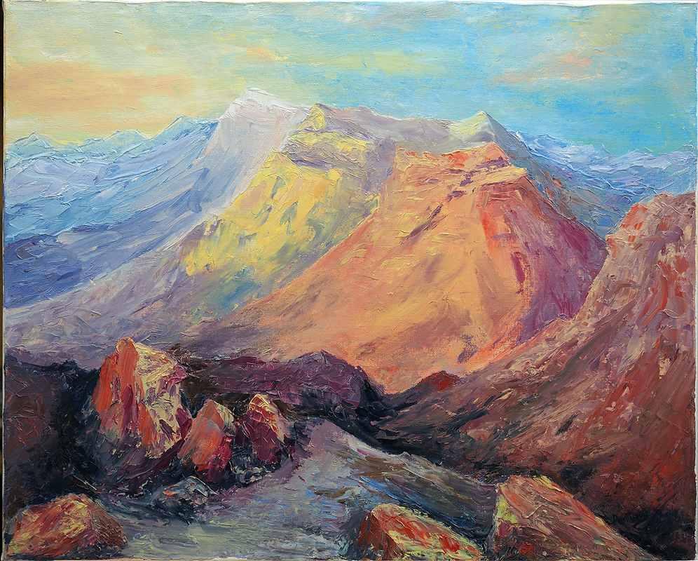 Рассвет в горах. масло, холст 50х60