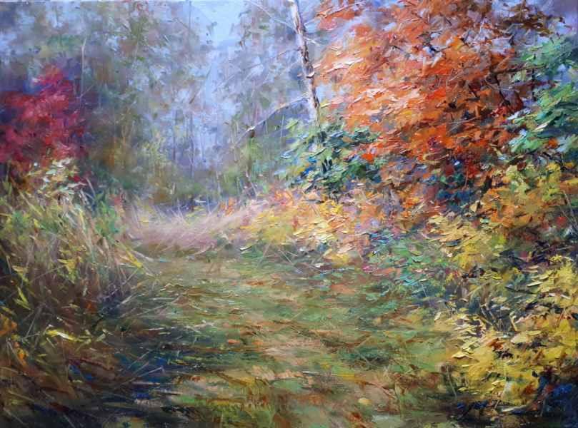 Осенняя заросшая тропа х.м. 45×60