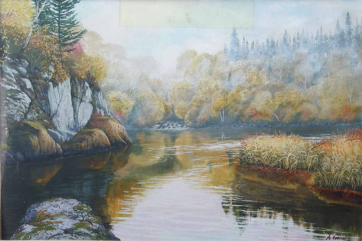Река Бикин. Счастливый утёс. х.м. 50х80