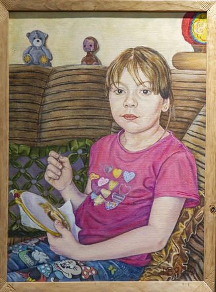 Вышивальщица (портрет внучки Киры)