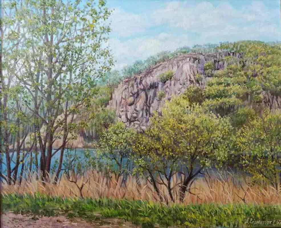 Озеро у скалы. Весна. Шмаковка 40х50 х.м. 2017
