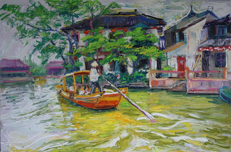 Шанхайский лодочник. 100х150.х.м.2016