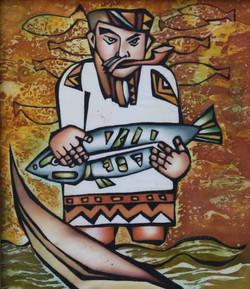 Рыбак (батик) 30х40