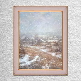 """Савченко Л. """"Снегопад. Вид из окна"""" 60х50 х.,м."""