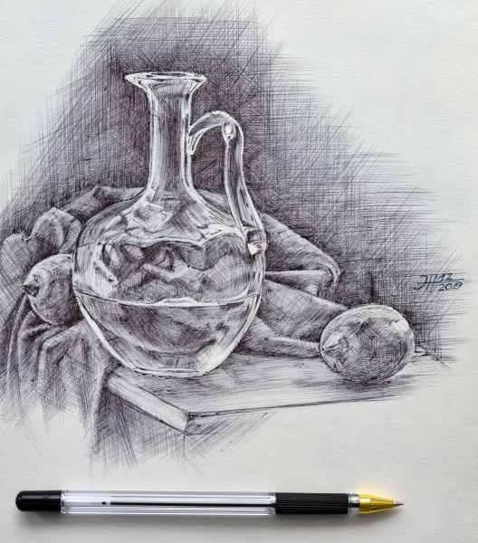 Натюрморт с графином. бум.ш. ручка