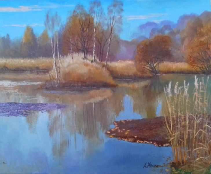 Тёплый октябрь на озере Красном 40х50 хм