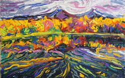 Цветущее озеро 60х90 холст.масло 2014
