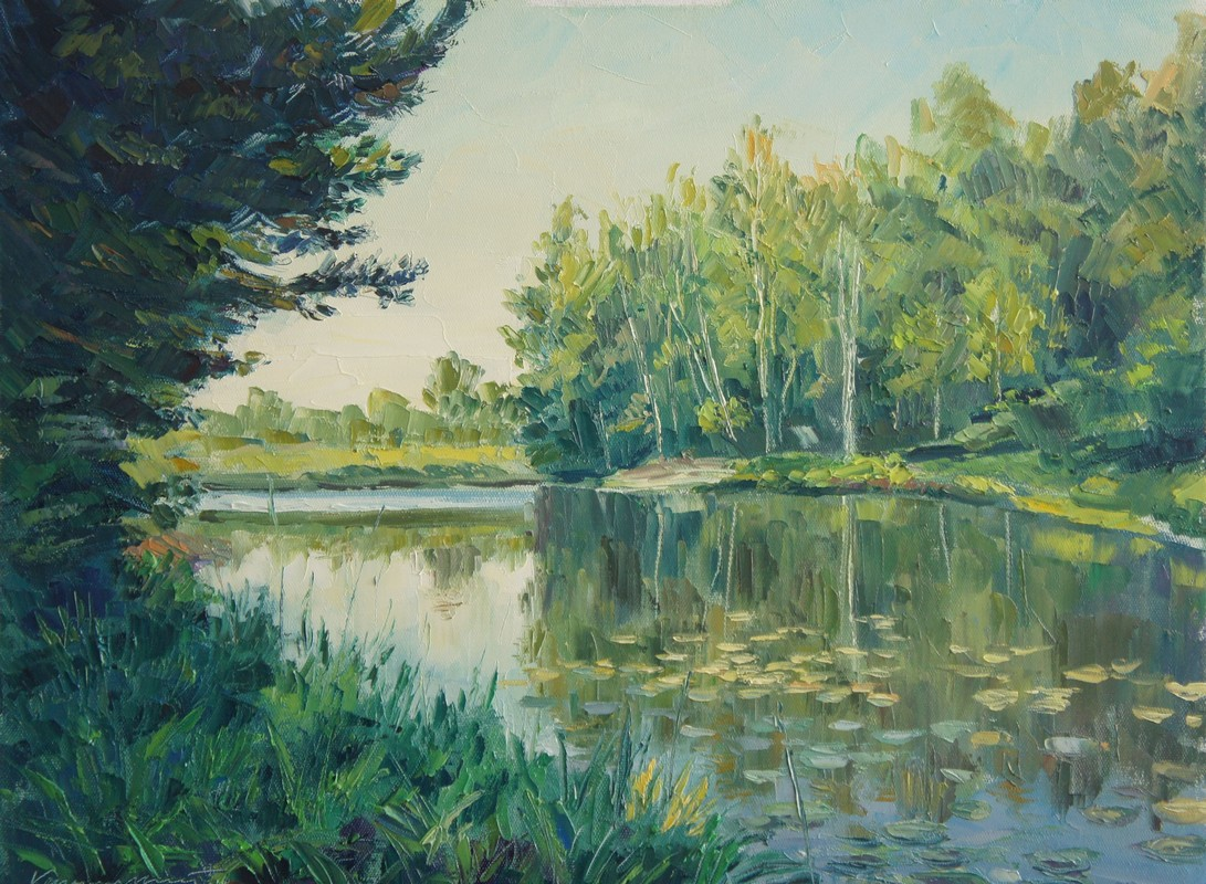 Зеленое озеро . 45х60холст. масло. 2013