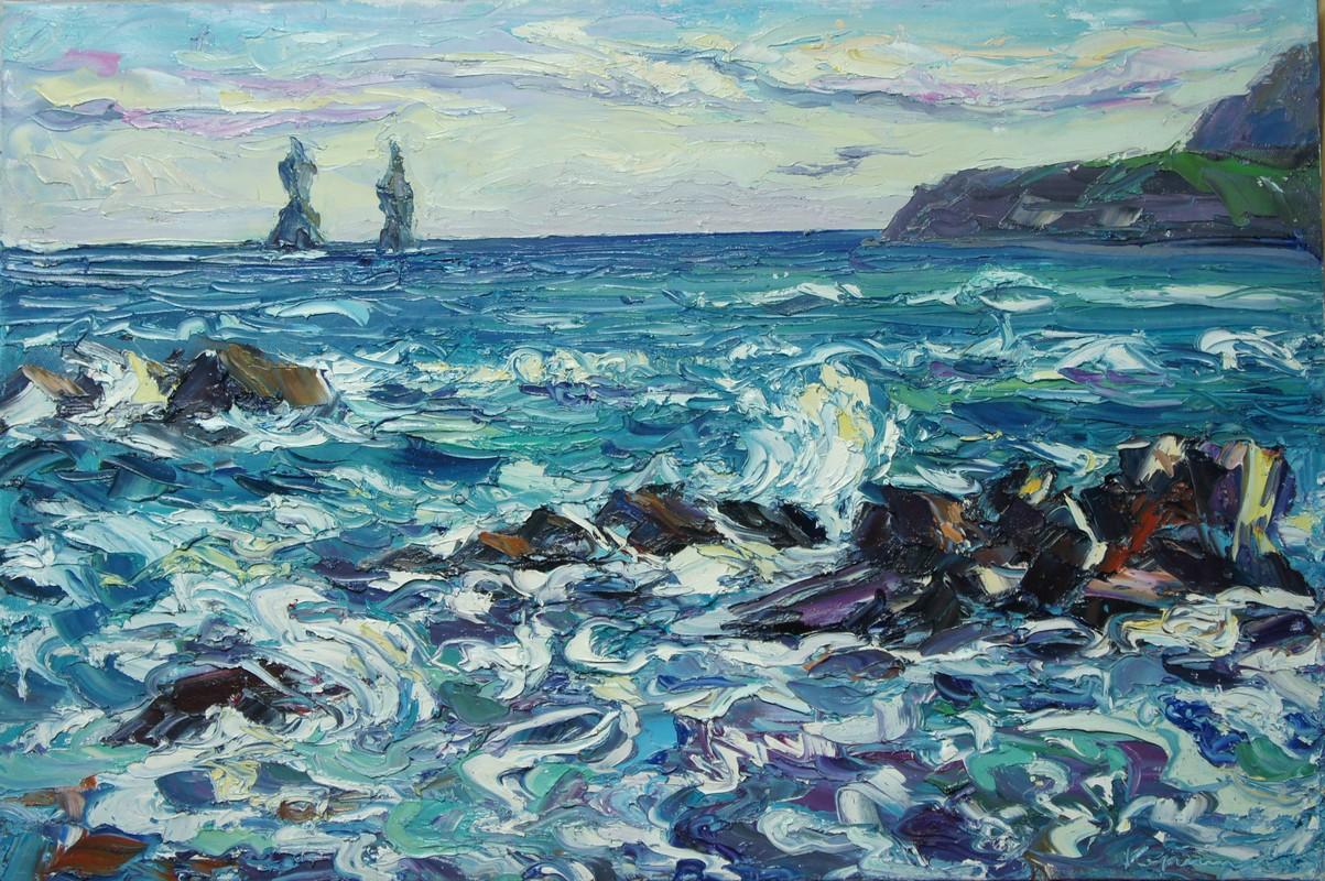 Бурное море 50х75 холст масло 2014