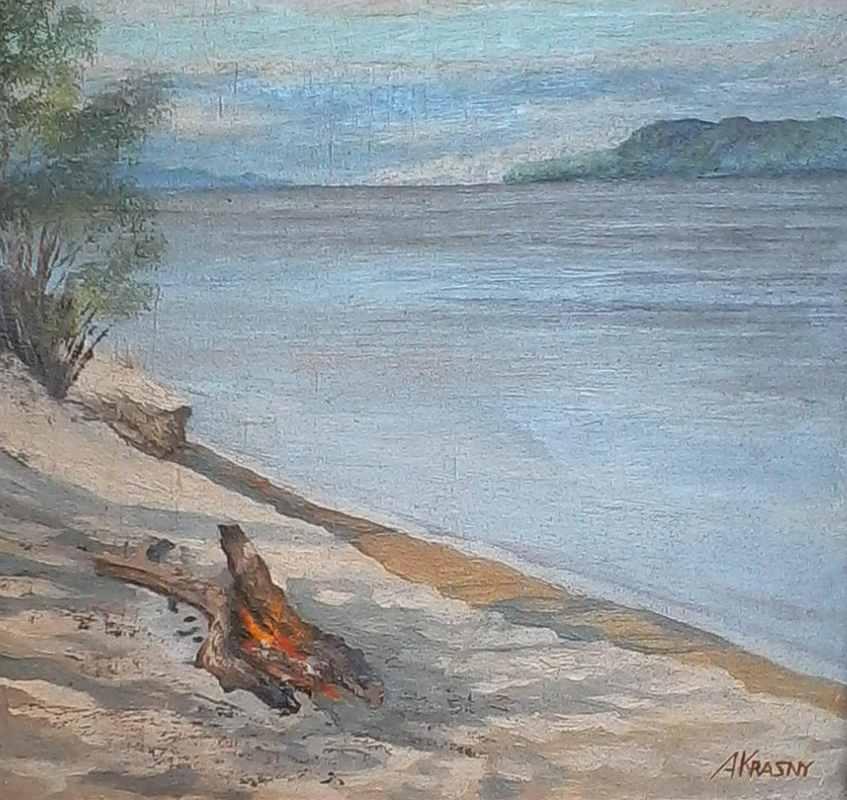 Зтюд на острове под жд. мостом хъ.м. 40х40