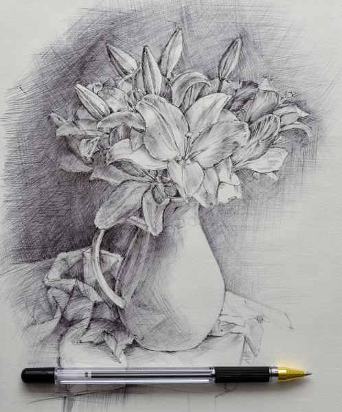 Натюрморт с лилиями, б. ш. ручка.