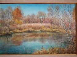 Октябрь. Березовское озеро, хм 40х60