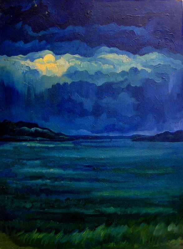 Лунная ночь над малой Бирой х.м.