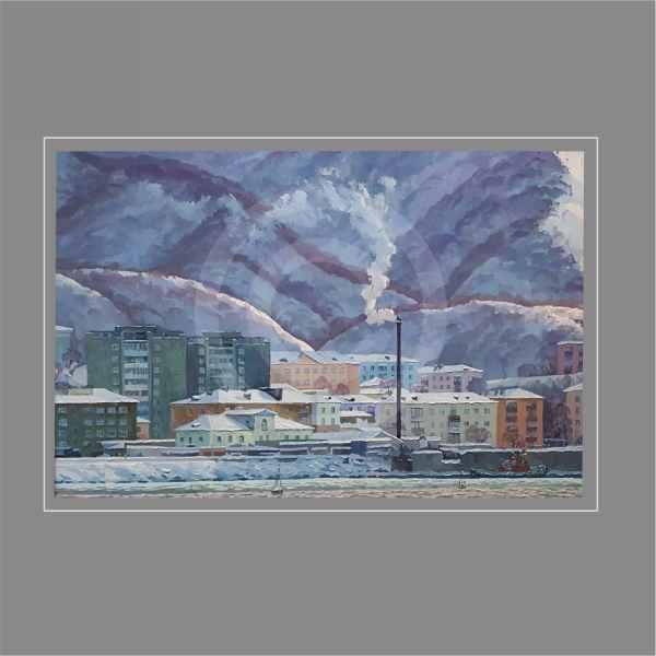 Холмск.Морозный январь. (х.м.)2018г