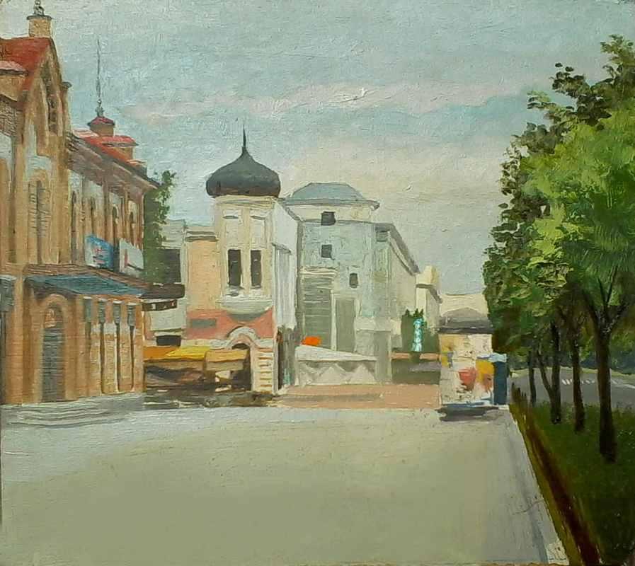 Улица города без людей  х.м. 30х30