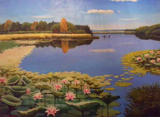 Озеро лотосов у п.Галкино 60х80 хм 2020