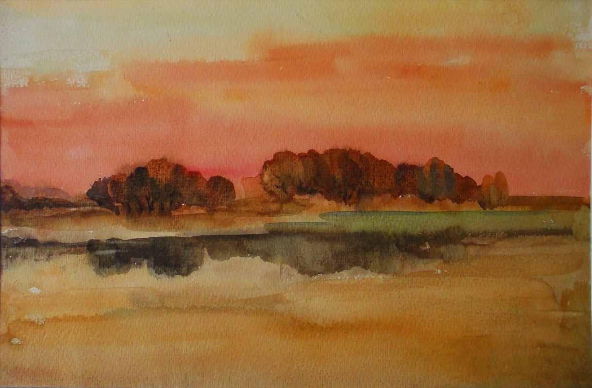 Восход над озером Угринным (бум., акв.)