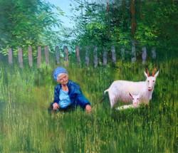 Бабушка и козы х.м. 60х80