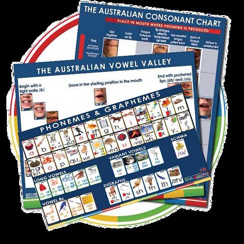 3x Posters: Consonant Chart, Vowel Valley, Phonemes & Graphemes.