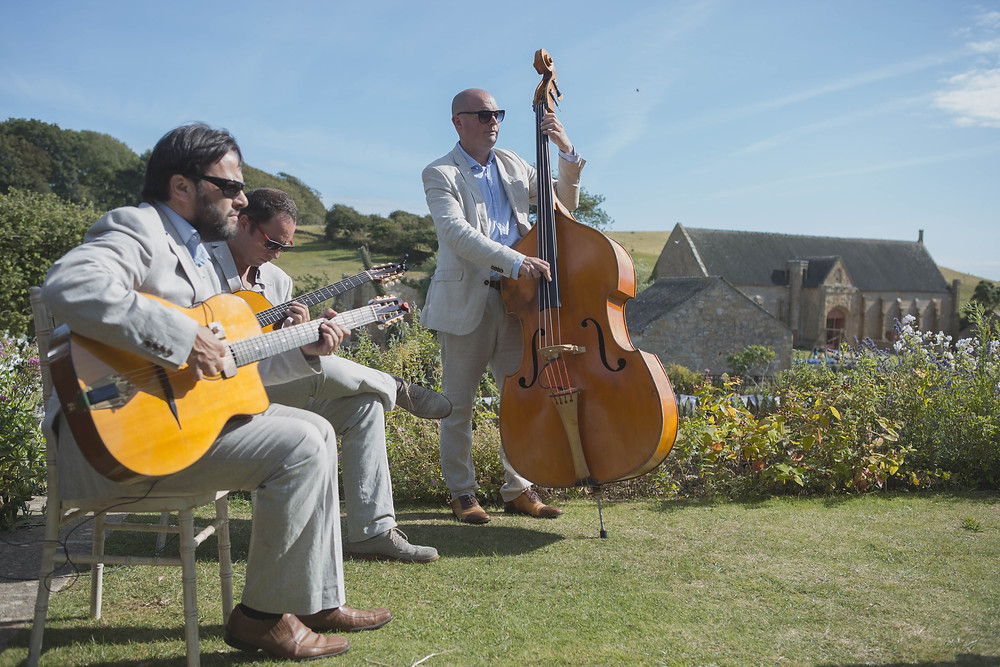 Jonny Hepbir Gypsy Jazz Trio playing at a vintage themed wedding