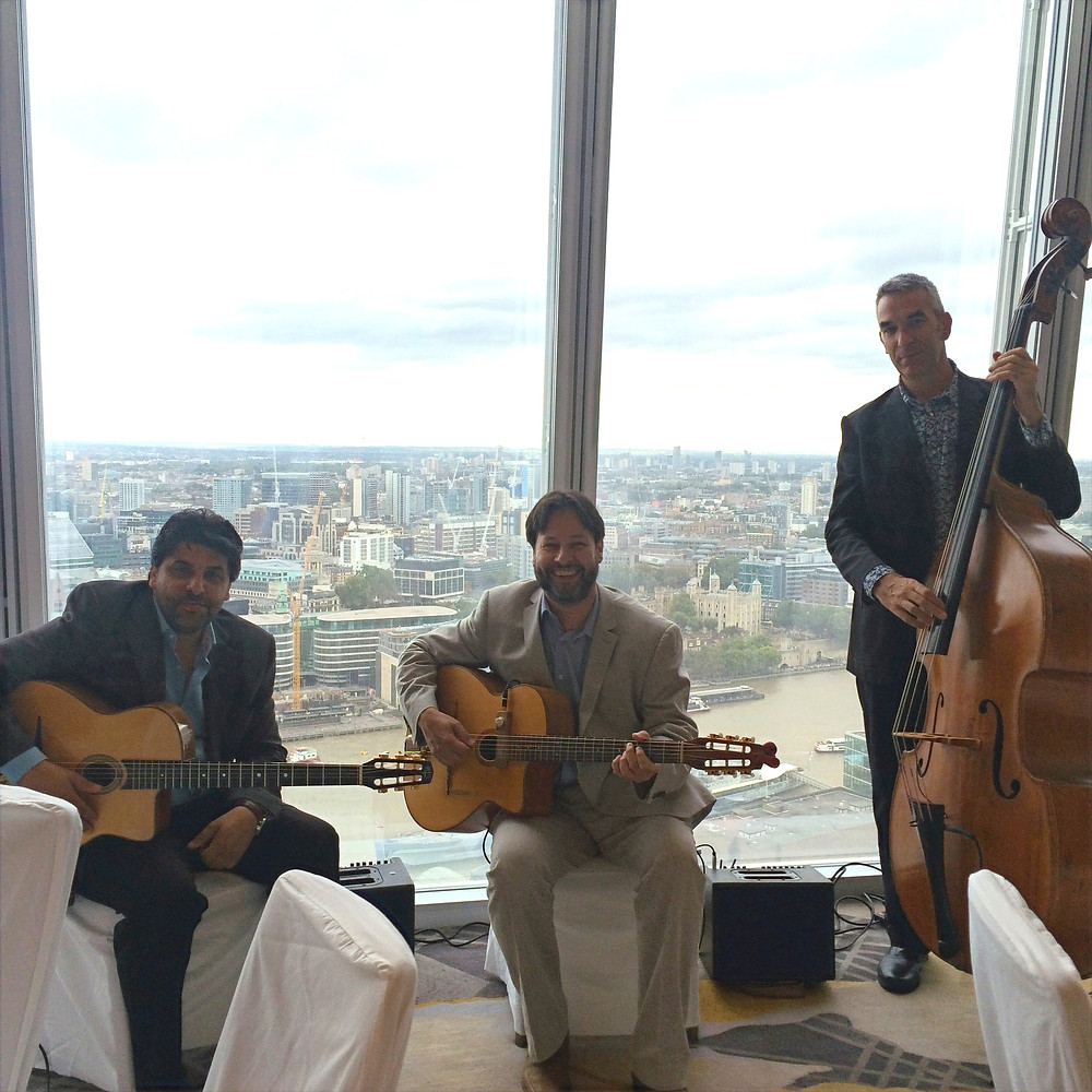 Jonny Hepbir Trio Perform At A Wedding In The Shangri-La Hotel At The Shard London