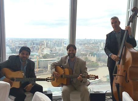 London Wedding Band Hire   Jonny Hepbir Gypsy Jazz Trio At The Shard For A Wedding Celebration