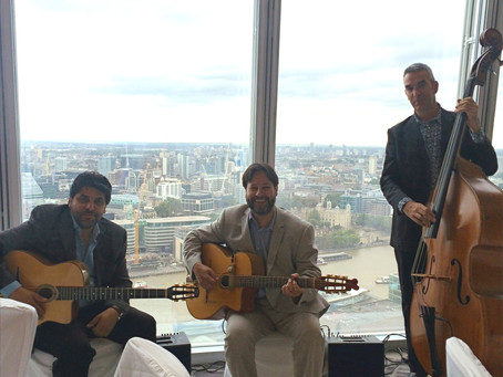 London Wedding Band Hire | Jonny Hepbir Gypsy Jazz Trio At The Shard For A Wedding Celebration