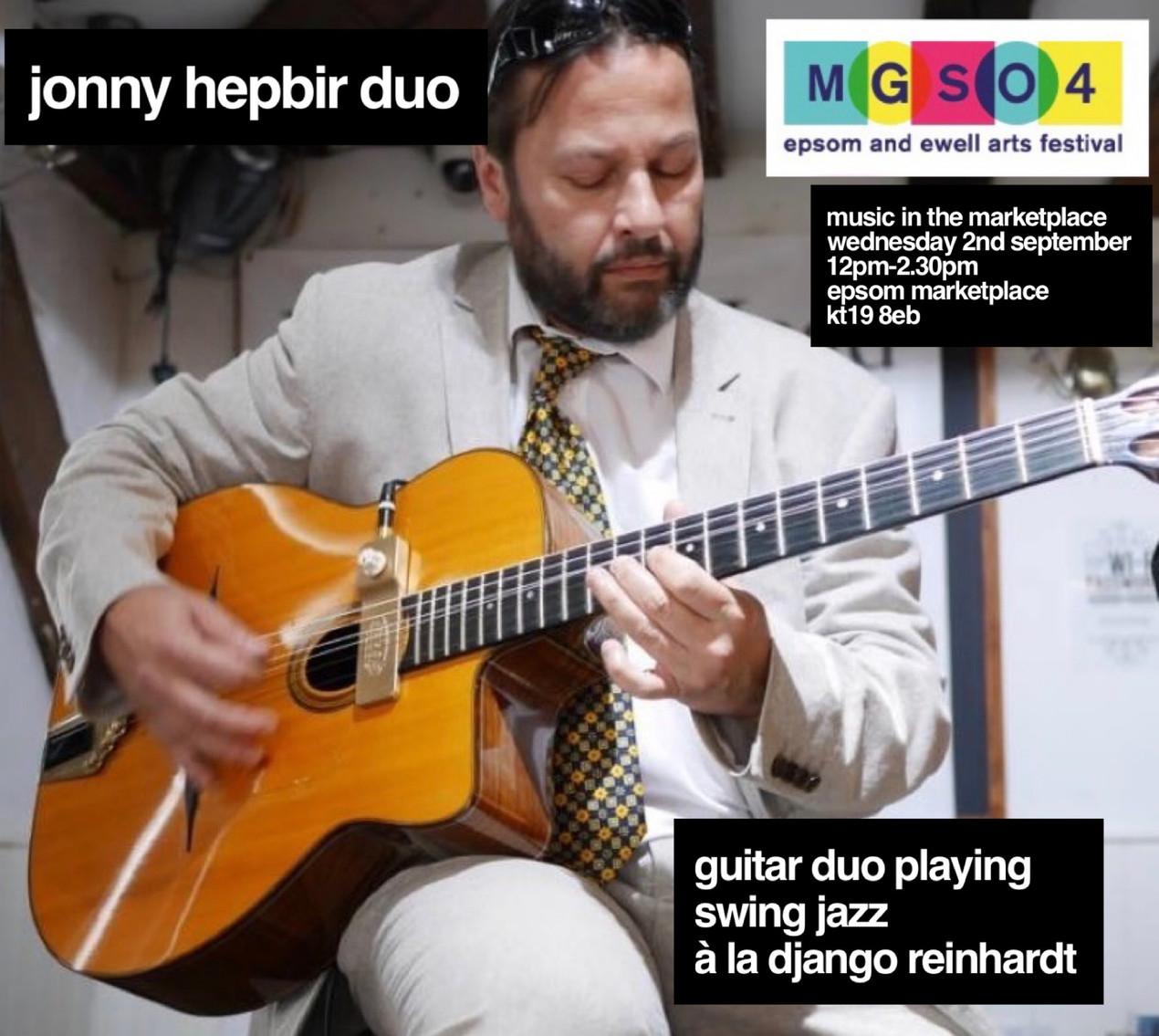 Jonny Hepbir Gypsy Jazz Guitar Duo Live At Epsom Marketplace, Surrey Wednesday 2nd September