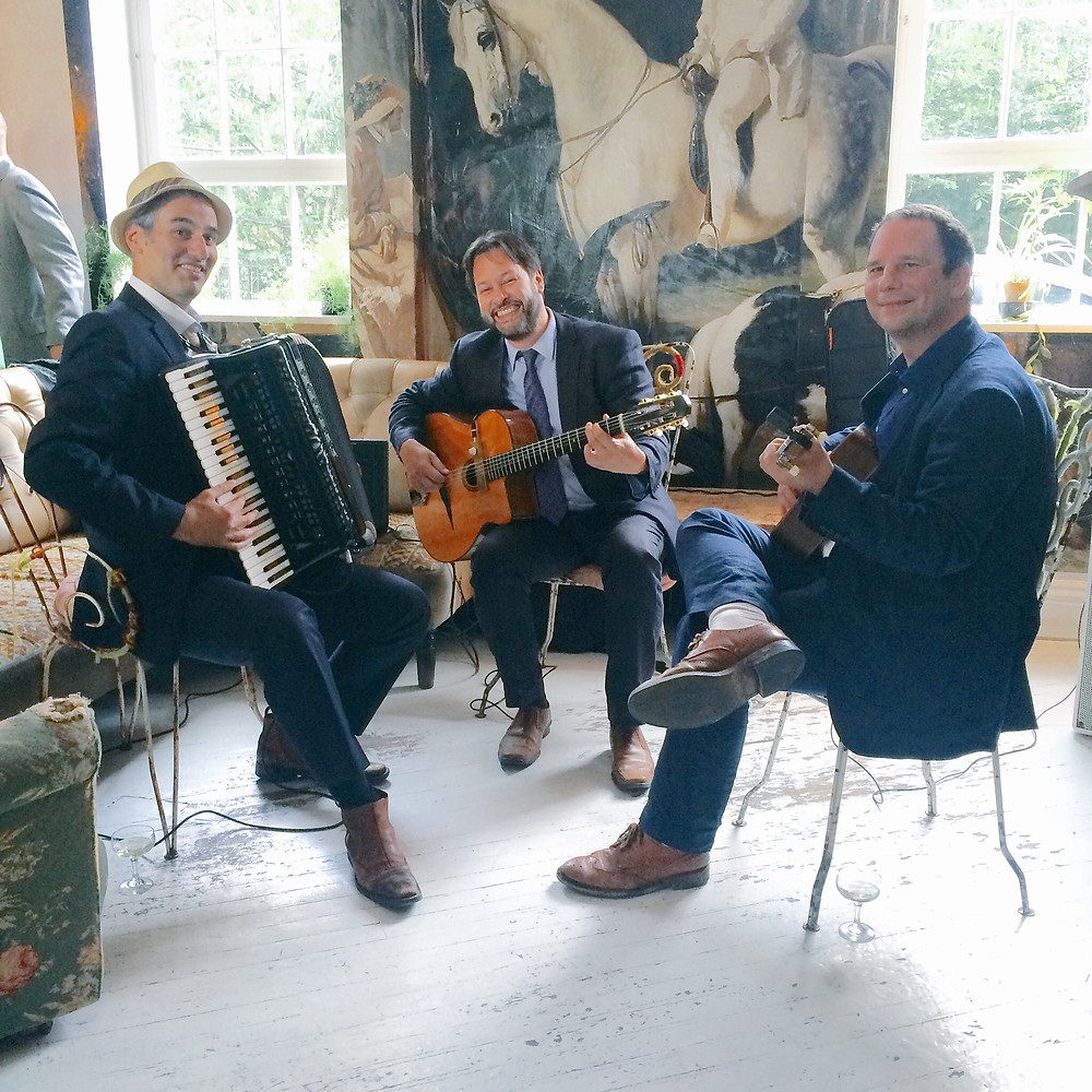 Jonny Hepbir Gypsy Jazz Trio With French Style Accordion Play A Wedding At Bourne & Hollingsworth Buildings In Clerkenwell, London
