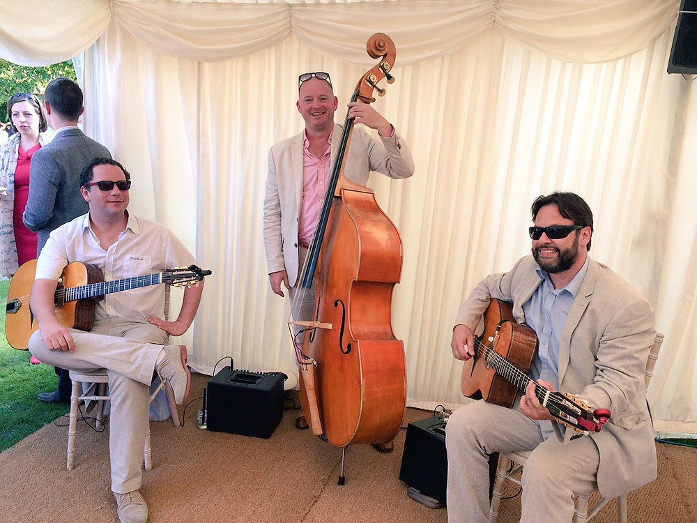 Jonny Hepbir Gypsy Jazz Trio Playing At A Wedding In Chelsea Physic Garden, London