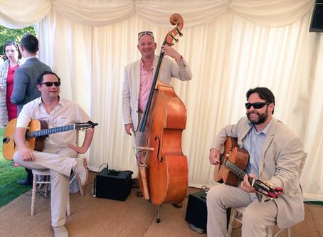 Book A Vintage Jazz Band In London | Jonny Hepbir Gypsy Jazz Trio At Chelsea Physic Garden Wedding